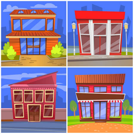 Exteriors of cafe or restaurants vector. Buildings in city, houses with windows built in modern manner. Eatery facade or cafeteria design. Cityscapes or landscape with homes in flat style illustration 矢量图像