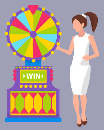 Young girl with ponytail wearing white dress spinning colorful roulette. Female casino worker or dealer. Game of chance, fortune wheel, gambling vector
