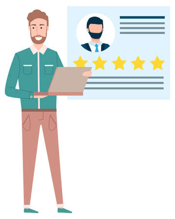 Smiling freelancer vector, man with laptop showing avatar and rating of person. Businessman with innovative technologies in business partners collaboration Vettoriali