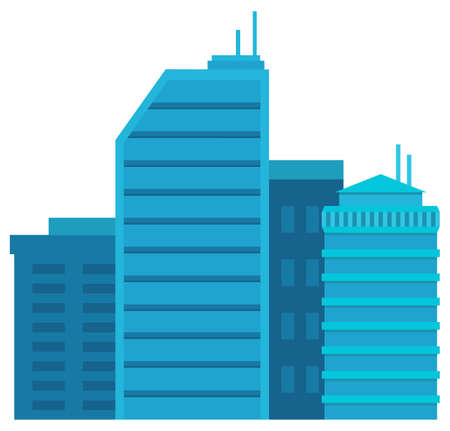 Skyscraper in blue color, exterior of high building with windows. Cityscape view, business construction, element of city, modern architecture town. Modern city model. Vector in flat style