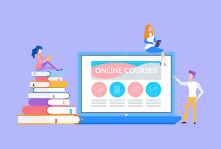 Online courses people sitting on laptop and books vector. Bookworms and modern students preparing for testing, education in distance, remote studies