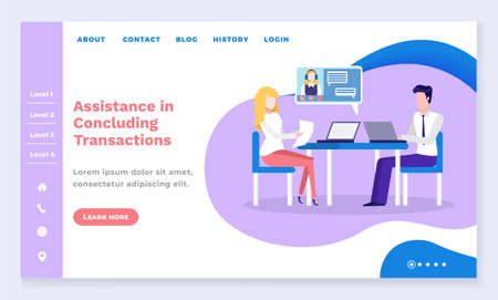Assistance in concluding transactions, man and woman talking about financial details. Hotline providing details and information. Website or webpage template, landing page, vector in flat style