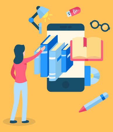 Woman and smartphone, electronic library. Phone replaces books and cinemas, maps and notebook. Device with icons of table lamp and glasses, pencil, usb flesh drive. Vector illustration in flat style