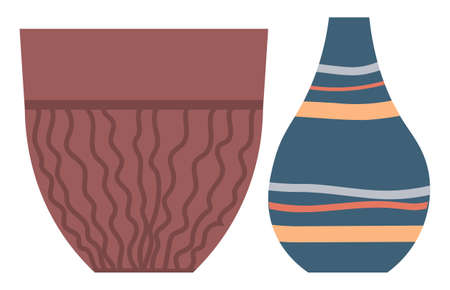 Vintage crockery, traditional ancient Greece ceramic jugs, earthenware craft. Vector pottery containers with wavy lines, isolated vessel hobby sign, retro vase
