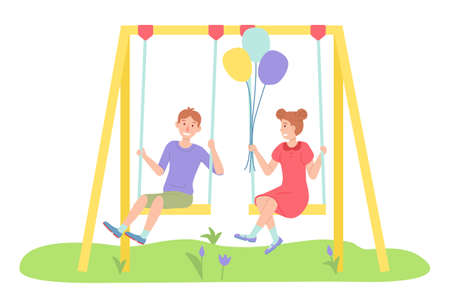 Children spending time at playground, kindergarten, kids have fun, recreation, girl with air balloons and boy rest relax on swing, little children, friends, playtime, isolated chartoon characters