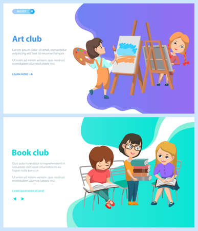 Art and book club vector, back to school concept. Pupils drawing on canvas using brushes and paints, girls reading literature and sharing thoughts. Website or webpage template, landing page flat style