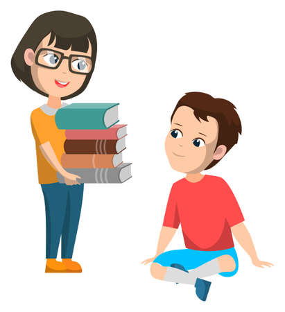 Boy and girl studying vector, isolated schoolgirl holding pile of books. Female character kid wearing glasses, pupil sitting on floor, back to school concept. Flat cartoon