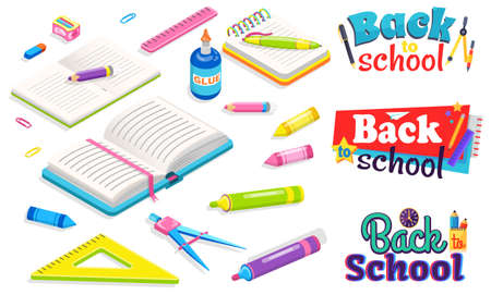 Back to school concept. Office and study stationery like book and notebook, pen and pencils, divider and glue, eraser and ruler. Flat cartoon vector illustration