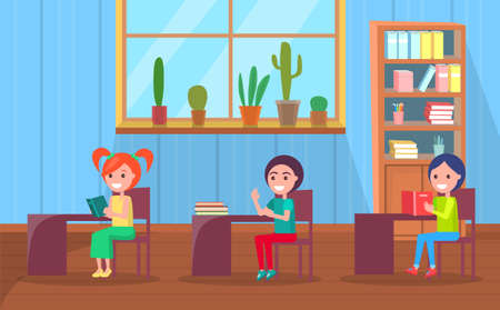 Kids on lesson vector, children sitting by desks with books and supplies. Back to school concept, flat cartoon classroom interior with bookcase and plant decoration 向量圖像