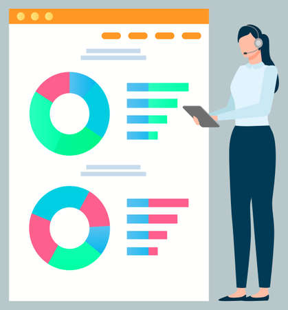 Data on whiteboard vector, presentation on board flat style secretary. Businesslady wearing headphones, presenter with diagram and segments, conference