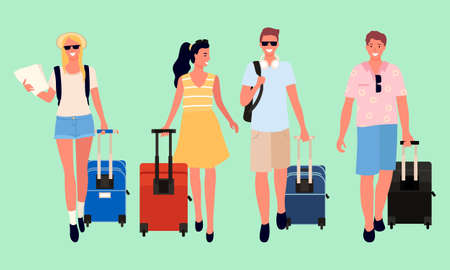Friends and couples traveling together vector, arriving man and woman with luggage flat style. People with bags and rucksacks isolated characters Vektorové ilustrace