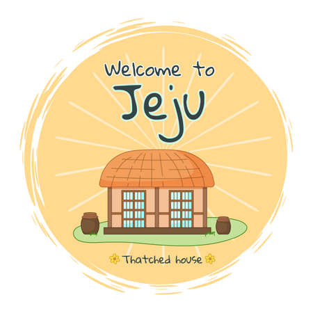 Travel banner with asian village old thatched house and welcome to jeju inscription. Traditional house in a Korean people settlement. Construction from natural wooden materials tropical island symbol