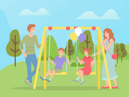 Family walking together, children swinging on a slide swing at playground. Happy cartoon kid with parents playing on the backyard. Childrens summer playing field, recreational outdoor activities