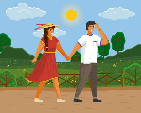 Couple walking in a park. Young guy and girl wearing a light dress and a straw hat holding hands walking in summer garden, romantic walk. Friends man and woman met on a date outdoor sunny day,