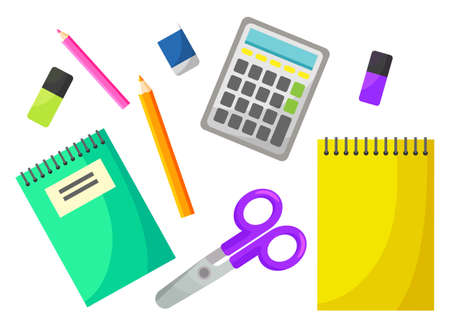 Calculator equipment, scissors and notebook, colorful pencils and eraser. Educational object, counting symbol on white, back to school, studying vector. Back to school concept. Flat cartoon