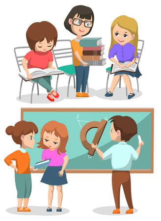 Classmates on lessons vector, boys and girls helping each others. Kid with pile of books reading textbooks, male drawing on geometry lesson, back to school concept. Flat cartoon
