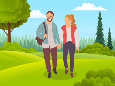 Couple walking in the forest. Smiling bearded man in glasses and happy girl holding hands walking in summer day in park, romantic walk. Pleasant stroul in the open air on a date, active lifestyle