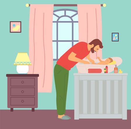 Young father bathing kid in baby bath. Dad washing newborn son. Caring and parenting concept. First steps of fatherhood. Chest of drawers with lamp, window with curtains, children s room interior Vector Illustratie