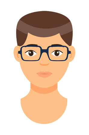 Cartoon character in glasses. Concept of avatar of young man with bad eyesight. Isolated at white background portrait of caucasian person. Brown-haired adult guy. Handsome male. Face of white man Vektorové ilustrace