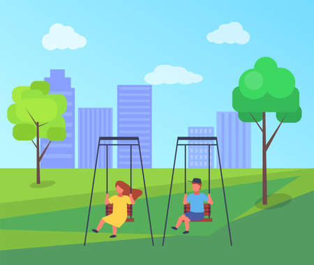 Children ride on a swing in the park or the playground. Girl and boy have fun, kids playing. Fresh air outdoor activity. Group of happy kids playing in city square. Various children on playground Illustration