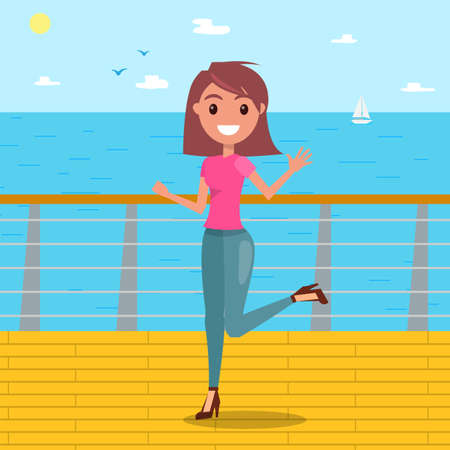 A young smiling girl on high heels walks along the seafront. Woman posing on a sea background. Modern clothing style. People different poses. Boat and sea background. Flat vector illustration Vettoriali