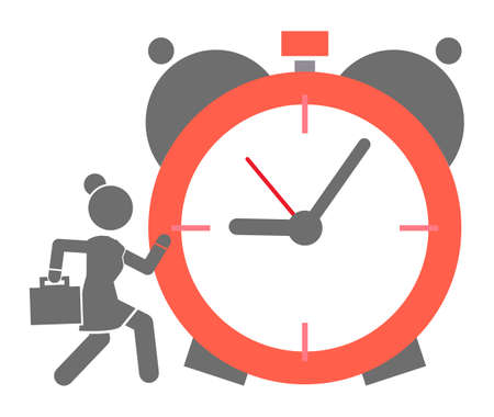 Big alarm clock icon with running business woman. Hurry up or time running out concept. Business lady with diplomat or case lating at work. Businessperson run at business meeting. Time-limit, deadline
