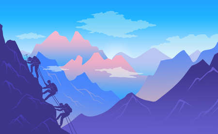 Climbers climb a mountain with climbing equipment. Active and dangerous sport. Climb up a steep rock. Mountain landscape. Dawn in the mountains. Mountaineer in the mountains. Flat illustration