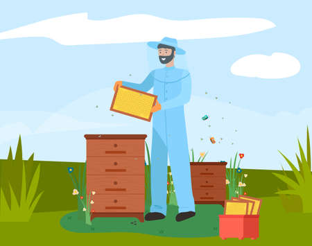 Beekeeper with honeycomb on apiary icon. Bearded apiarist in blue protective costume and hat holding beehive frame of honeycomb with honey and bee for beekeeping and apiculture themes design Vecteurs