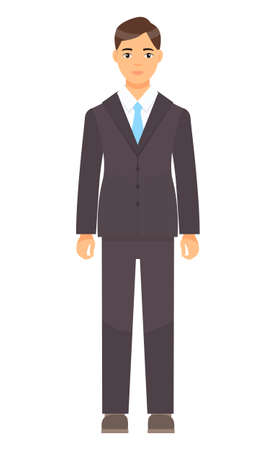 Isolated cartoon character businessman wearing stylish brown suit, blue tie. Man in jacket and trousers, white shirt. Business person style. Dresscode of office worker. Brown-haired guy, cloth element