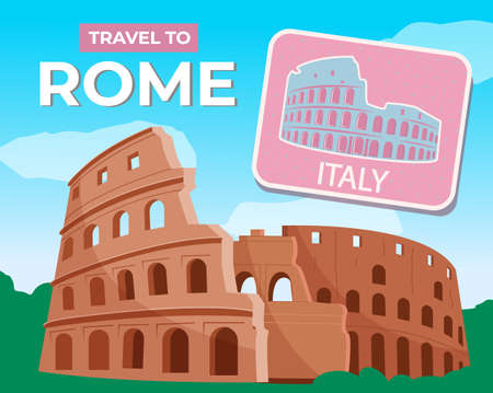 Trip to Rome. Roman Colosseum. Italian sightseeing. Traveling, vacations, tourism. Travel to Europe. Ancient architecrute.Travel to Italy modern flat design. Famous historical landmark. Flat image