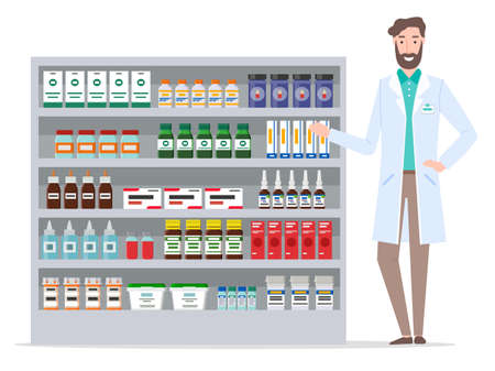 Pharmacy warehouse and pharmacologist. Stand with various medicines. Medical packaging. Drops, sprays, tablets, ointments, preparations, bottle tablets. Design concept of Healthcare and Medicine
