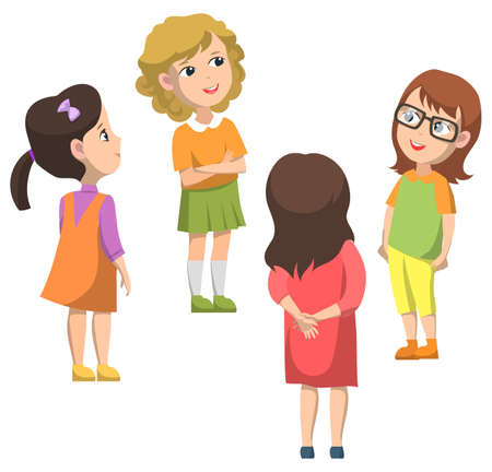 Schoolchildren standing in circle and talking. Boy in glasses smiling. Blonde and brunette girls together. Schoolgirls in dresses or shirts. Back to school concept. Flat cartoon vector illustration
