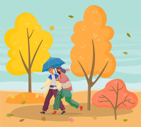 Couple strolling in autumn forest in bad weather. Cold and windy day in fall season in park. Man and woman having romantic walk outdoors using umbrella protecting from rain. Vector in flat style