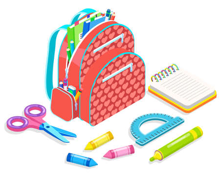 Backpack with pencil and eraser, notebook and pen, chancellery symbol. School supplies, scissors and colorful marker, ruler and empty book, study. Back to school concept. Flat cartoon isometric 3d Vettoriali