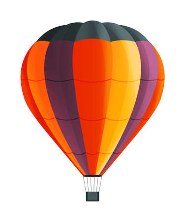 Colorful Hot air balloon isolated on white background vector illustration. Aircraft used to fly gas. Ballon consists of gas burner, a shell and a basket for carrying passengers, Romantic flight travel