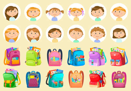 Sticker of smiling pupils girl and boy, backpack set. Back to school, chancellery in bag, notebook and pencil, educational sign, studying symbol vector. Back to school concept. Flat cartoon Vettoriali