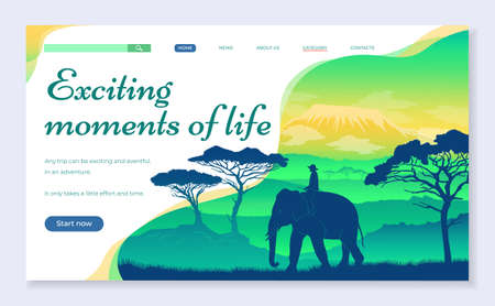 Web site for travelers concept. Exciting moments of life banner web page design. Elephant in African savannah at sunset. Wild acacia, mountaines. Silhouettes of an animal and a person sitting on it