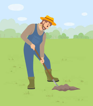 A man harvesting, digging a crop works in a field or garden. Illustration of a man dressed as a farmer using a shovel to dig the ground before planting saplings. Earthwork man gardener in overalls