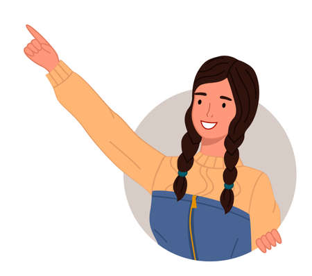 Young smiling girl pointing somewhere on a white background. Happy curious looking female character stretched out her hand and finger points to something interesting, makes a gesture paying attention