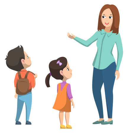 Schoolgirl and schoolboy standing near teacher. Boy with brown backpack on his back. Little girl in orange dress. Woman talking with pupils. Back to school concept. Flat cartoon vector illustration