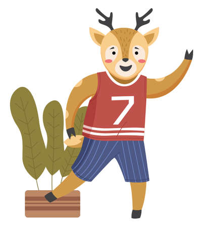 Funny cartoon animal student. A deer schoolboy dressed in a sports uniform and a T-shirt. Cute active pupil getting ready for a physical training lesson at school. Back to school, education theme Vettoriali