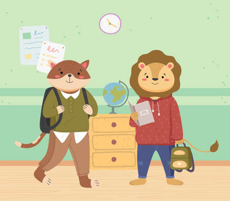 Smart active students came to study for a geography lesson with books. Cute lion and a cat schoolboys with backpacks are standing near the globe. Funny cartoon animal student. Back to school concept