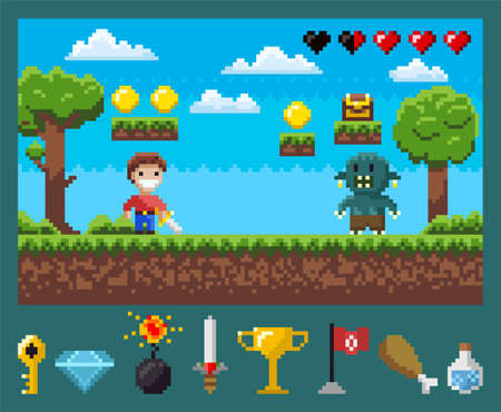 Battle of superhero with galive and monster, power symbols key, diamond and bomb, steel and cup, flag and meat with flask, screen of pixel game vector