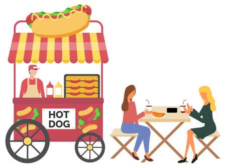 Vendor male standing with hotdog cart, fastfood retail. Women eating sausage and drinking coffee, urban marketplace with wheels, lunch outdoor vector