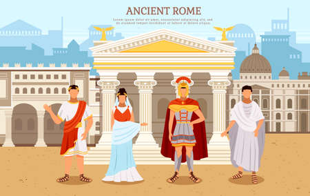 Ancient rome flat poster with person man and woman in traditional costumes vector. Rome empire. Historical characters stand near an architectural building with columns against the ancient city