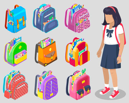Pupil character standing with backpack, school bag with chancellery set. Girl student, bag with pen and notebook, pencil and scissors, kid vector. Back to school concept. Flat cartoon isometric 3d Vettoriali