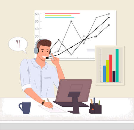 Male operator business support call center or hotline. Man in headphones sits at a computer and chats online. Bar chart and graph on the background. Hotline customer helpdesk business assistance