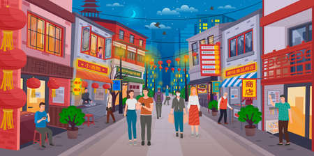 Chinese evening street. Traditional Asian buildings, shops, shops, Chinese lanterns. Tourists walk along the street, eastern sellers invite visitors. Woman in a protective mask. Bright Chinatown