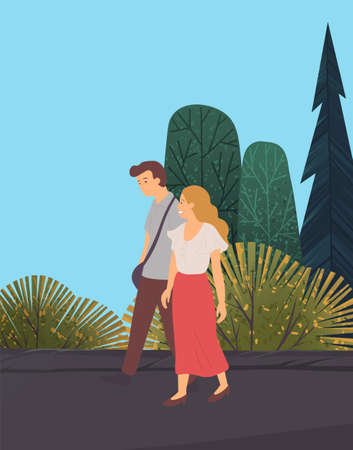 The couple walks in a sparse mixed forest. Spruce trees and deciduous trees. Sports and recreation. Admiring the natural beauties. Active lifestyle. Walks in open air. Environmentally friendly area