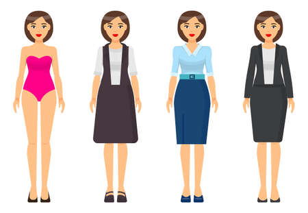 Set of cartoon characters. Woman brunette with short haircut wearing different clothes. Girl in pink underwear. Businesslady wear brown dress, blue skirt and blouse, grey office suit with jacket